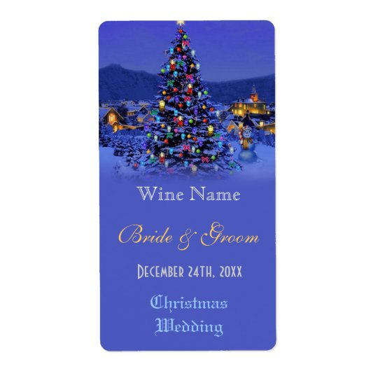 Vintage Christmas tree holiday wedding wine label