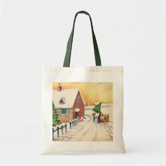 Vintage Christmas Tree on a Snowy Winter Road Budget Tote Bag