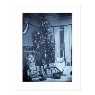 Vintage Christmas Tree on Christmas Morning Postcard