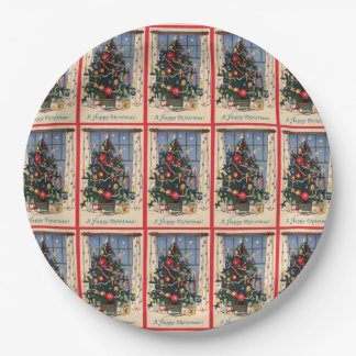 Vintage Christmas Tree Paper Plates 9 Inch Paper Plate