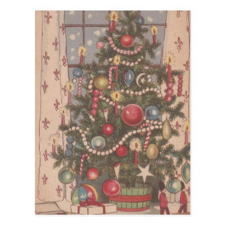 Vintage Christmas Tree Postcard