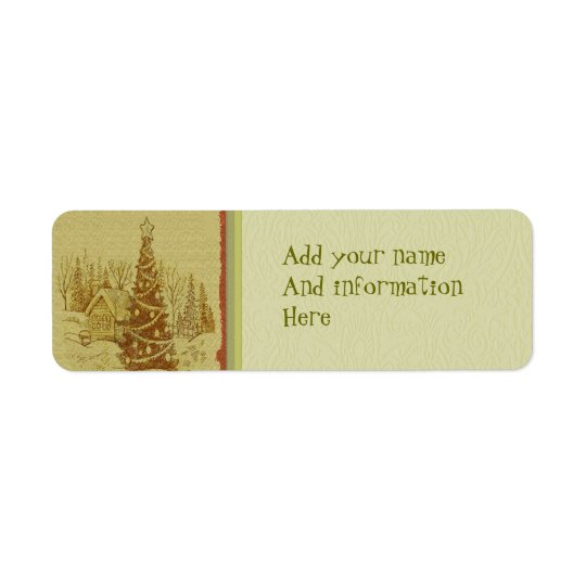 Vintage Christmas Tree Return Address Label