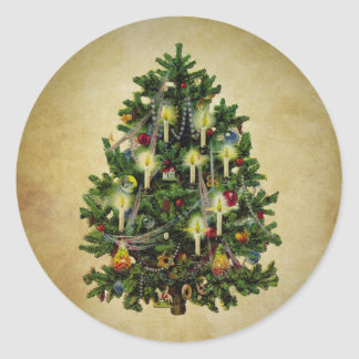 vintage christmas tree round sticker