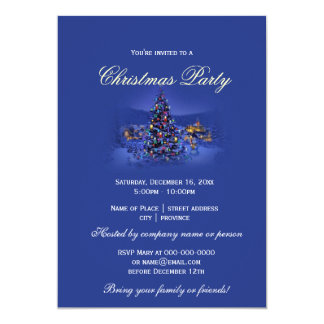 Vintage Christmas tree snowy night party blue Personalized Invitations