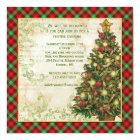 Vintage Christmas tree, swirls,  Scottish tartan Card