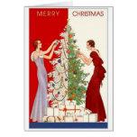 Vintage Christmas tree trimming card