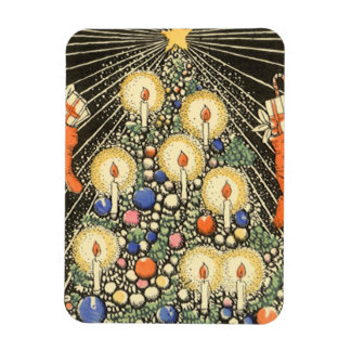 Vintage Christmas, Tree with Candles and a Star Rectangular Photo Magnet