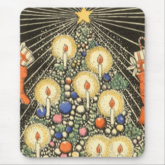 Vintage Christmas, Tree with Candles and a Star Mouse Pad