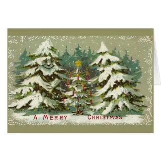 Vintage Christmas Trees Greeting Card