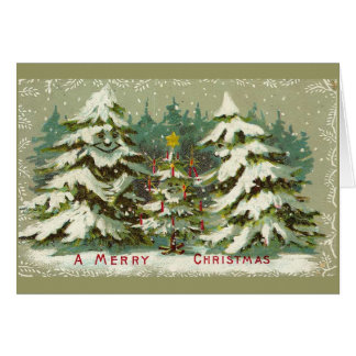 Vintage Christmas Trees Greeting Card