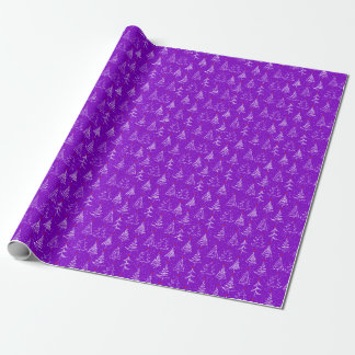 Vintage Christmas Trees Purple Wrapping Paper