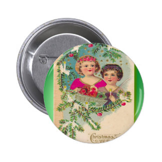 Vintage Christmas two girls and a tree Buttons