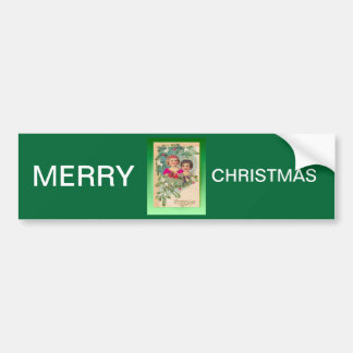 Vintage Christmas, two girls and a tree Car Bumper Sticker