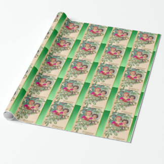 Vintage Christmas, two girls and a tree Wrapping Paper