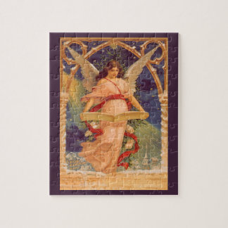 Vintage Christmas, Victorian Angel Reading Bible Jigsaw Puzzle