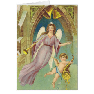 Vintage Christmas, Victorian Angel with Cherub Card