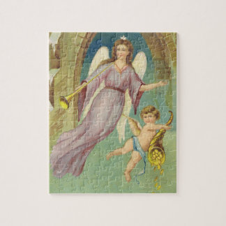 Vintage Christmas, Victorian Angel with Cherub Jigsaw Puzzle