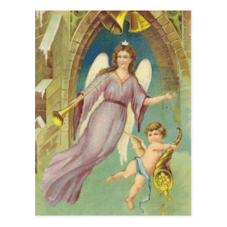 Vintage Christmas, Victorian Angel with Cherub Postcard