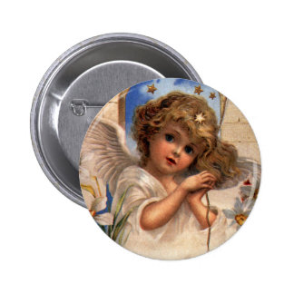 Vintage Christmas, Victorian Angel with Gold Bells 6 Cm Round Badge