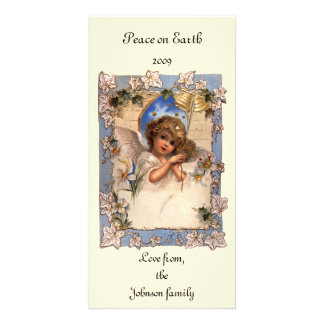 Vintage Christmas, Victorian Angel with Gold Bells Card