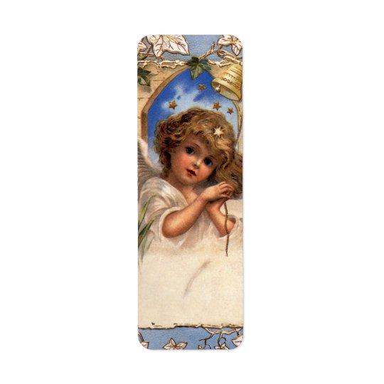 Vintage Christmas, Victorian Angel with Gold Bells Return Address Label