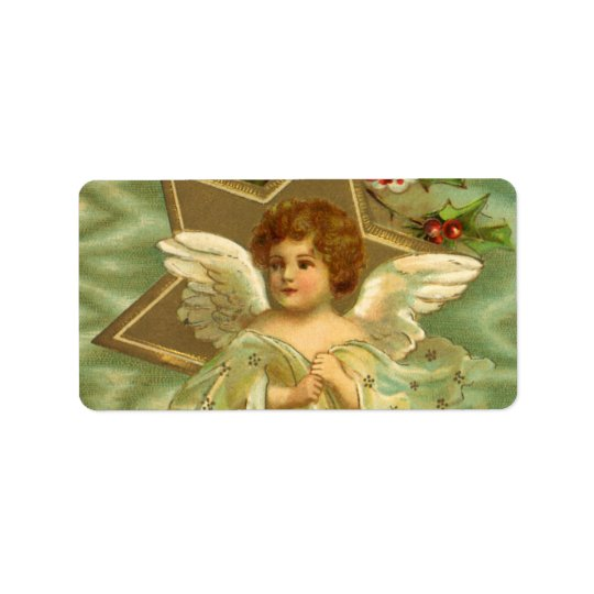 Vintage Christmas, Victorian Angel with Gold Stars Address Label