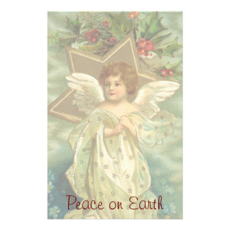 Vintage Christmas, Victorian Angel with Gold Stars Stationery