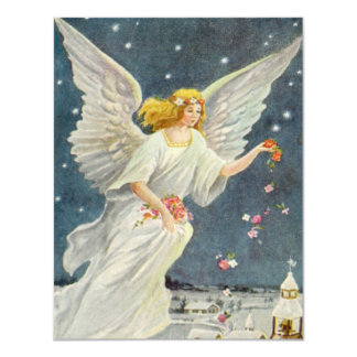 Vintage Christmas Victorian Angel with Stars Roses 11 Cm X 14 Cm Invitation Card