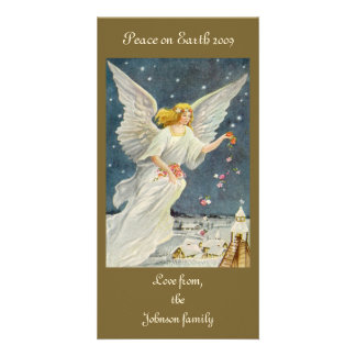 Vintage Christmas Victorian Angel with Stars Roses Customized Photo Card