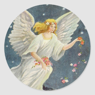 Vintage Christmas Victorian Angel with Stars Roses Round Sticker