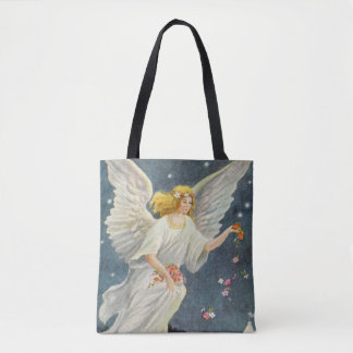 Vintage Christmas Victorian Angel with Stars Roses Tote Bag