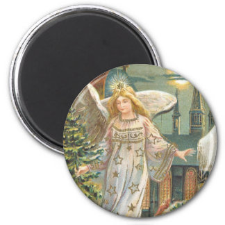 Vintage Christmas Victorian Angel with Tree 6 Cm Round Magnet