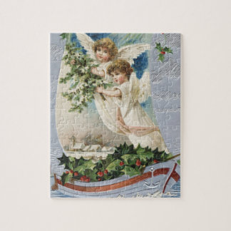 Vintage Christmas, Victorian Angels in a Sailboat Jigsaw Puzzle