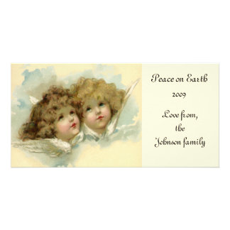 Vintage Christmas, Victorian Angels in the Clouds Picture Card