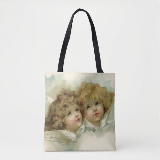 Vintage Christmas, Victorian Angels in the Clouds Tote Bag