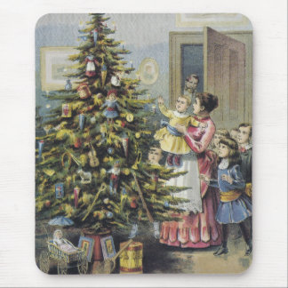 Vintage Christmas, Victorian Family Around Tree Mouse Pads