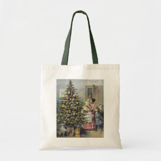 Vintage Christmas, Victorian Family Around Tree Tote Bag