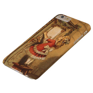 Vintage Christmas Victorian Girl Hanging a Garland Barely There iPhone 6 Plus Case