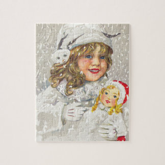 Vintage Christmas Victorian Girl with Doll in Snow Jigsaw Puzzle