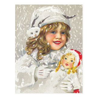 Vintage Christmas Victorian Girl with Doll in Snow Postcard