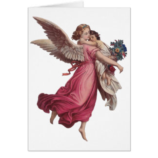 Vintage Christmas, Victorian Guardian Angel Card