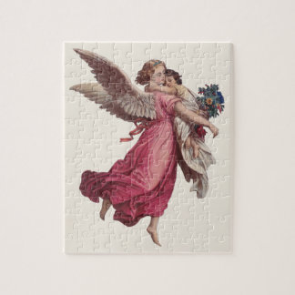 Vintage Christmas, Victorian Guardian Angel Jigsaw Puzzle