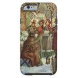 Vintage Christmas, Victorian Musicians Play Music Tough iPhone 6 Case