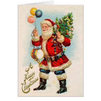 Vintage Christmas, Victorian Santa Claus Balloons Card