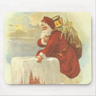 Vintage Christmas, Victorian Santa Claus Chimney Mouse Pad