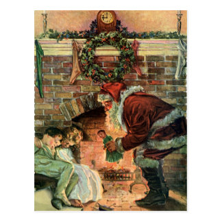 Vintage Christmas Victorian Santa Claus Fireplace Post Cards