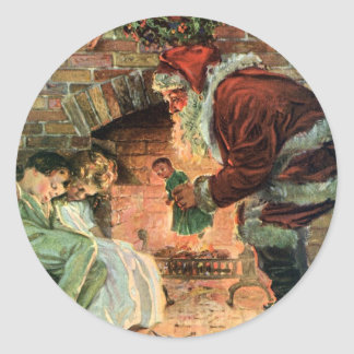 Vintage Christmas, Victorian Santa Claus Fireplace Sticker
