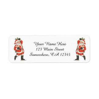 Vintage Christmas Victorian Santa Claus Ice Skater Return Address Label