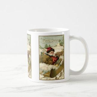 Vintage Christmas, Victorian Santa Claus in Sleigh Coffee Mug