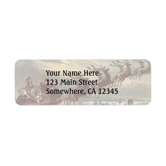 Vintage Christmas, Victorian Santa Claus in Sleigh Return Address Label